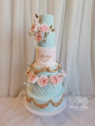 原创蒂芙尼色系婚礼蛋糕模型橱窗装饰仿真翻糖蛋糕模型