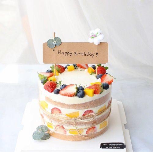 烘焙蛋糕装饰  小清新牛皮纸生日快乐插牌 ins风森系