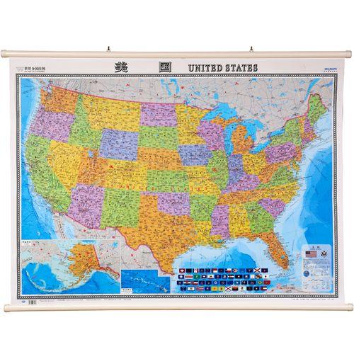 美国地图 中英文 1.2*0.9米 防水覆膜挂图