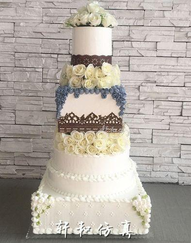 高端多层鲜花婚庆蛋糕模型 6/7层开业仿真翻糖婚礼假