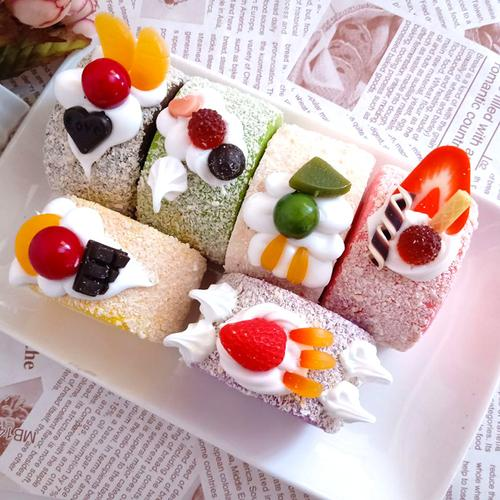 一包12个仿真三角形蛋糕模型假小蛋糕 慕斯蛋糕道具摄影装饰