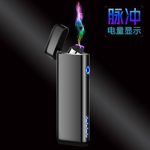 超纤薄细长条商务炫彩黑冰科技面常规翻盖显电触摸感应电弧打火机