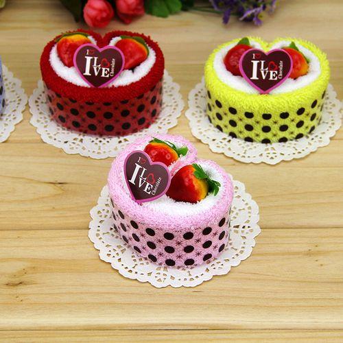 纯棉造型蛋糕毛巾生日结婚礼物创意活动小礼品定制爱心形回礼盒装