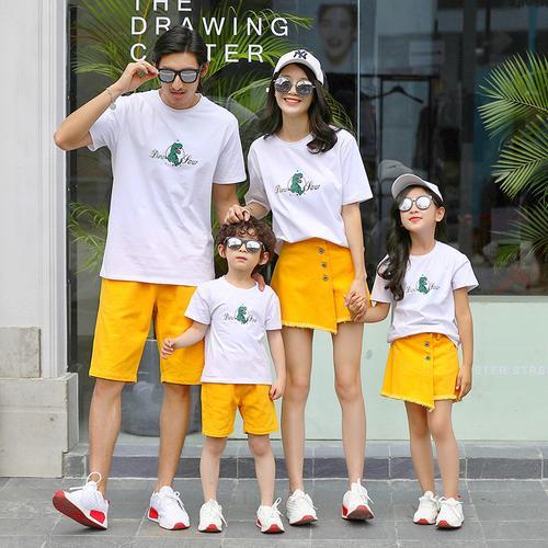亲子装一家三口套装夏装2020新款潮韩洋气母子母女四口法式全家装