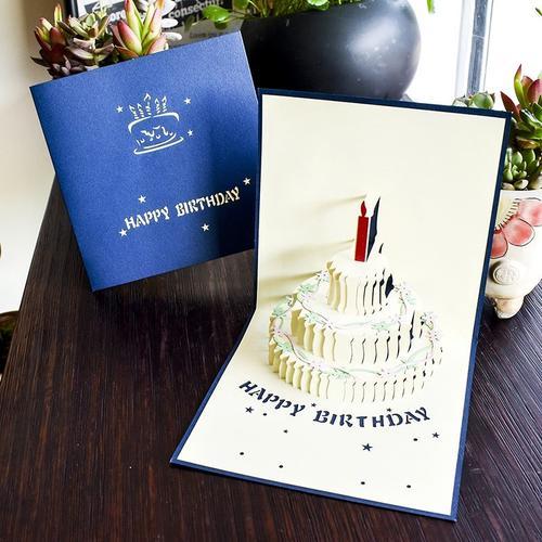 创意生日卡片立体贺卡3d生日卡片儿童员工手工生日