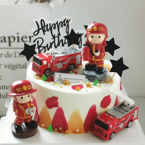 儿童生日蛋糕装饰消防车玩具摆件救火英雄小小消防员男孩蛋糕装扮