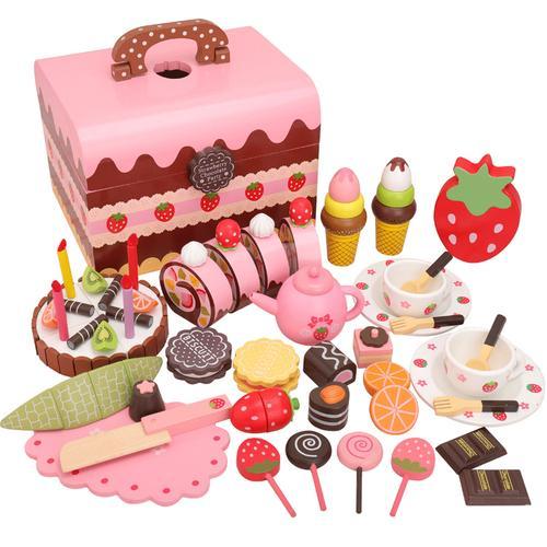 木制仿真厨房玩具做饭切水果披萨过家家蛋糕套装蔬菜