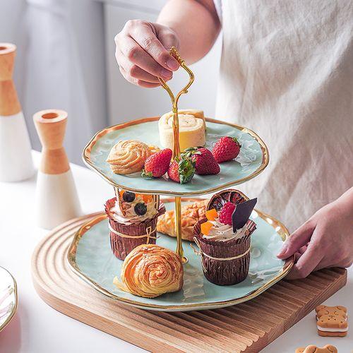 欧式轻奢陶瓷双层水果盘客厅家用金边二层蛋糕盘下午