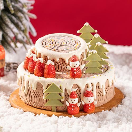 雪人树桩蛋糕(黄石)
