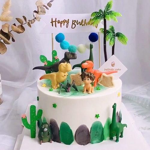 侏罗纪恐龙蛋糕装饰摆件儿童男孩宝宝生日玩具12恐龙
