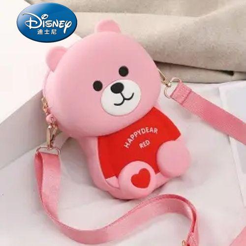 韩版少女生百搭可爱卡通小熊硅胶单肩斜挎手机包 粉色欢乐熊链条款