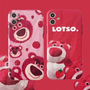 max手机壳se软壳xr创意卡通 苹果11油画红底草莓熊