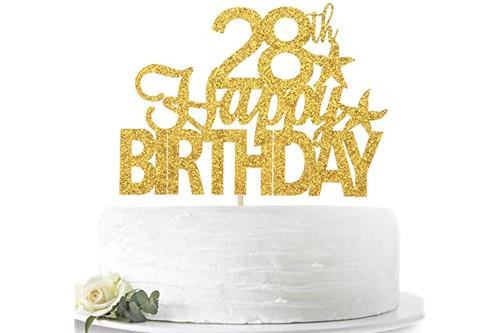 金色闪光 28岁生日快乐蛋糕装饰 hello 28,欢呼28岁