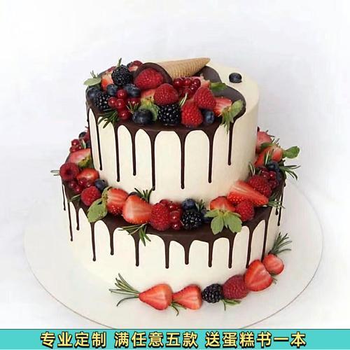 仿真蛋糕模型2020新款双层简约现代巧克力淋面塑胶生日假蛋糕样品