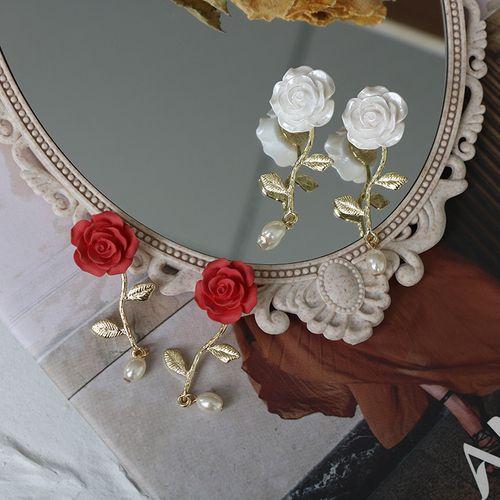 s925银针 法式复古温柔玫瑰花耳钉 长款珍珠红色立体