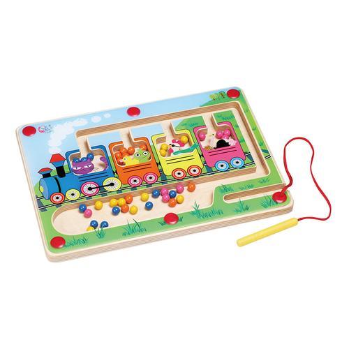 谁来搭火车早教儿童桌面玩具磁性笔游戏分类认知板认识颜色数量华