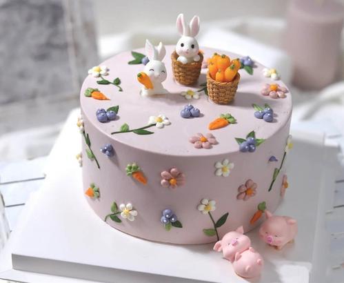 可爱动物卡通小兔子胡萝卜兔小猪生日蛋糕装饰配件