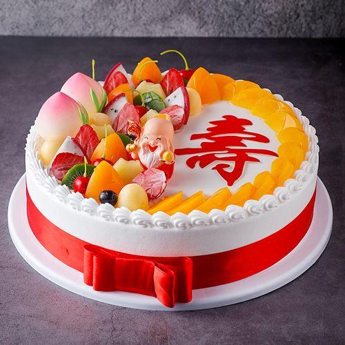 祝寿老人寿桃水果蛋糕模型仿真2020新款 生日假蛋糕