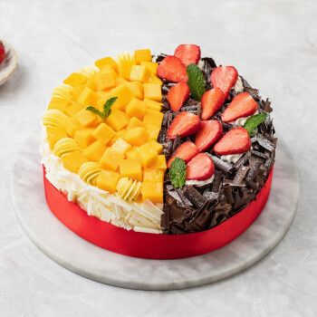 幸福西饼生日蛋糕芒果草莓新鲜水果奶油慕斯蛋糕预定深圳广州同城
