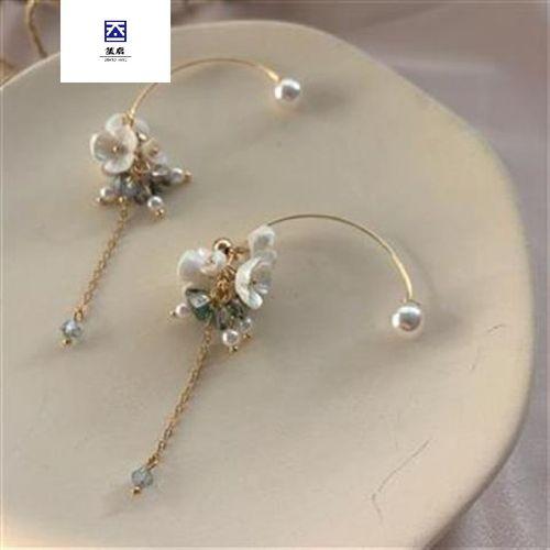 法式复古气质长款水晶花朵优雅精致森系小清新耳环女 镀金耳钩  一对