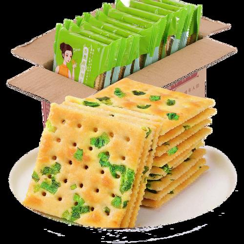 欧鲜生香葱苏打饼干整箱无添加蔗糖健康零食 香葱苏打
