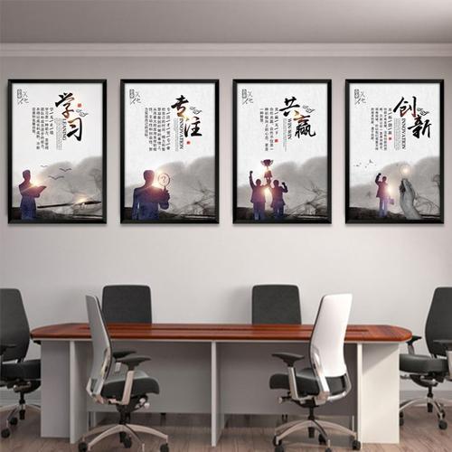 职场团队文化墙共赢创新诚信超越态度奉献学习激情进取战略办公室