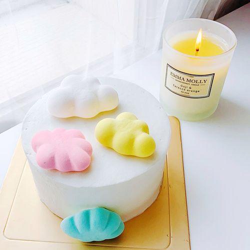 晴心田小糖手工云朵白云咖啡饮品漂浮棉花糖蛋糕装饰