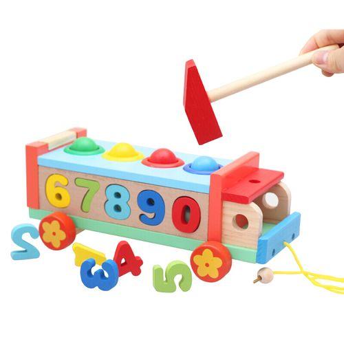 木质早教婴幼儿童玩具打地鼠玩具锤子敲打游戏机女孩1