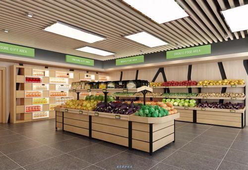 钱大妈款不锈钢蔬菜架生鲜超市果蔬货架钢木结合货架