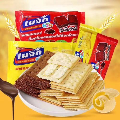 泰国珍珍原装进口魔力脆苏打夹心饼干黄油+巧克力360g