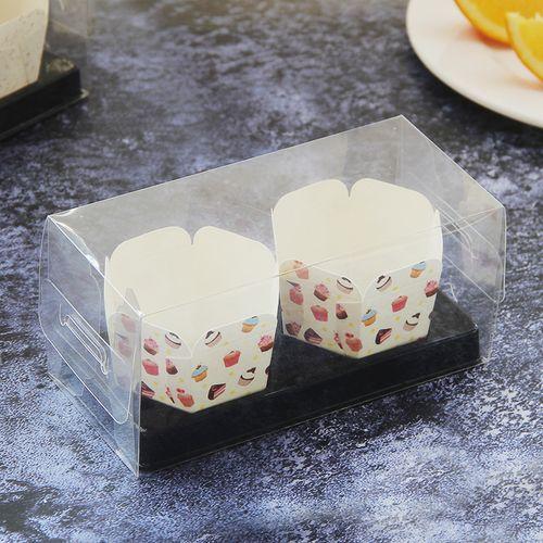 北海道流芯心2粒3粒装六角透明纸杯戚风慕斯包装烘焙蛋糕打包盒