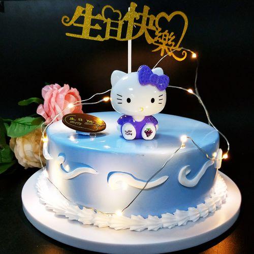 蛋糕装饰 生日蛋糕kt猫儿童玩具卡通凯蒂猫情景造型