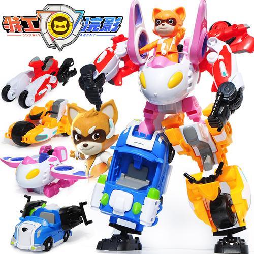 丛林特工队玩具浣影特工变形机器人金刚合体机甲全套