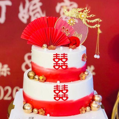 网红加高创意结婚蛋糕模型喜字订婚中式古风摄影来图
