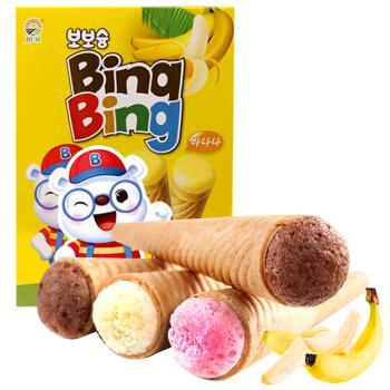 韩国进口九日欧巴熊冰淇淋形饼干冰激凌甜筒53.4g草莓