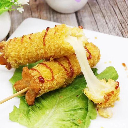 芝士拉丝热狗 韩国网红拉丝热狗棒脆皮烤香肠油炸冷冻
