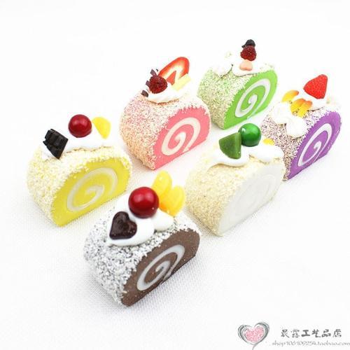 仿真小蛋糕模型假的奶油甜品水果卷道具面包店铺家居