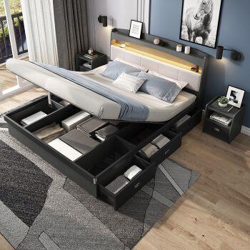 森然逸家 北欧双人床高箱储物气动收纳现代简约风格带