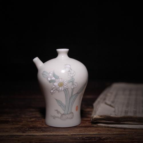 一诺轩文房景德镇陶瓷手工制作手绘水仙仿古水滴砚滴