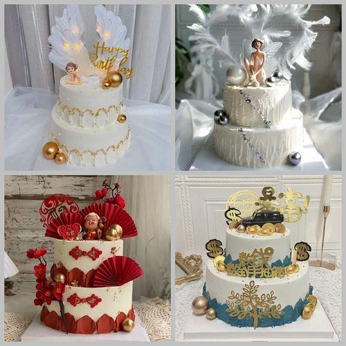 仿真双层蛋糕模型新款网红蛋糕模型祝寿皇冠蛋糕样品