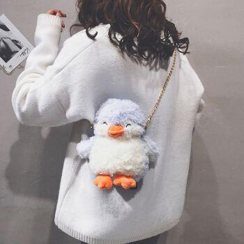 伊梵络 女包可爱企鹅毛毛包2021新款百搭毛绒链条单肩