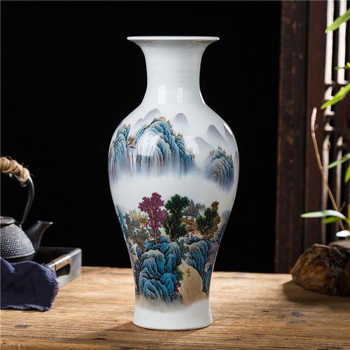 景德镇陶瓷花瓶摆件现代中式客厅家居饰品电视酒柜水养插花瓶摆设