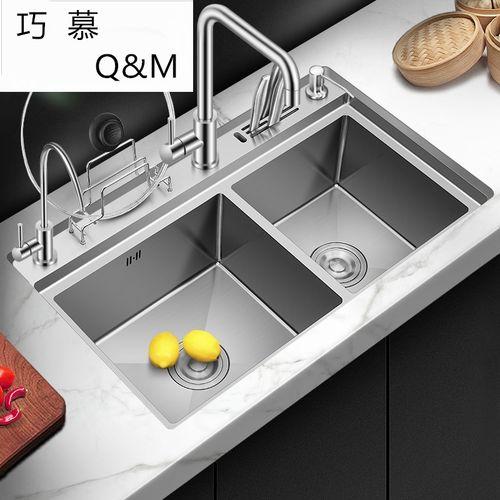 304不锈钢水槽双槽纳米厨房洗菜盆双槽手工洗碗池刀架