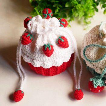 纸杯蛋糕包手工diy材料编织钩针草莓包手织毛线针织自制斜挎礼物 小号