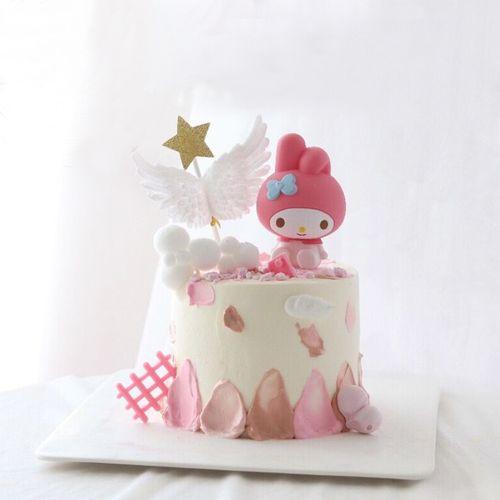 美乐蒂蛋糕装饰小女孩蛋糕摆件萌兔子美乐蒂摆件装饰