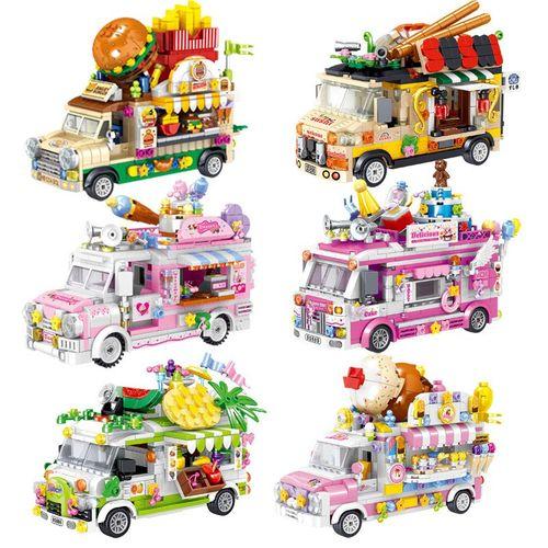 哲高00886-91汉堡寿司蛋糕水果贩卖车甜点推车小颗粒拼装积木玩具