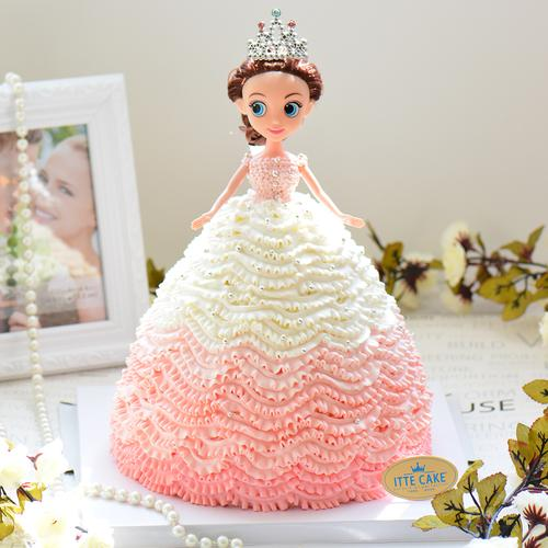【大眼芭比】时尚的芭比公主 儿童蛋糕