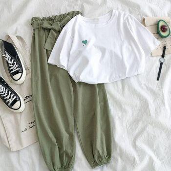 女生夏天的衣服运动套装女学院风学生两件显瘦百搭 白色上衣+绿色裤子