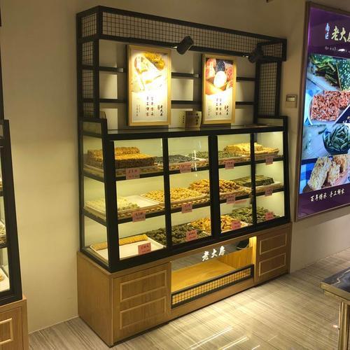 蛋糕店货架铁艺边柜实木中岛柜蛋糕柜糕点柜面包柜面包展示柜展柜