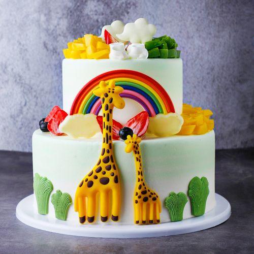 【更有趣,更健康】双层长颈鹿水果巧克力蛋糕模型仿真2020新款